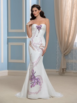 Embroidery Chiffon Sweep Train Mermaid Wedding Dress