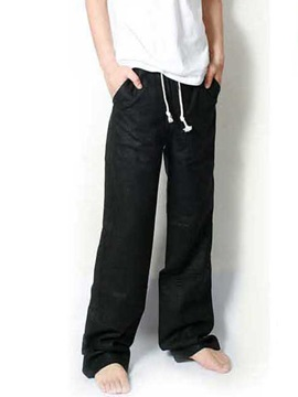 Flax Mid Waist Straight Mens Casual Pants