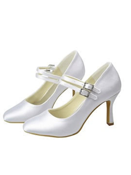 White Ankle Strap Bridal Shoes