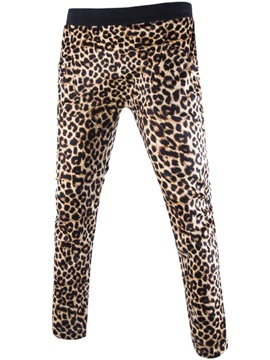 Leopard Print Slim Lace Up Mens Casual Pants