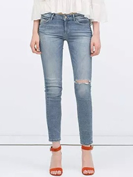 Delicate Hole Designed Straight Leg Jean