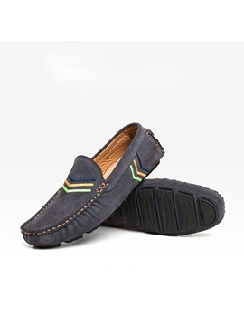 Embroidered Suede Slip On Loafers