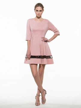 Chic Mesh 3 4 Sleeve Dress