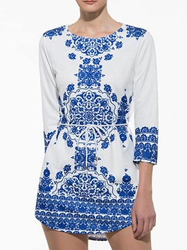 Peppy Printing Sleeve Furcal Dress