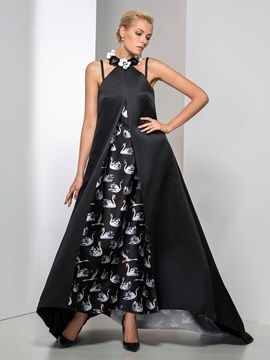 Unique Jewel Neckline Flowers A Line Long Printed Evening Dress