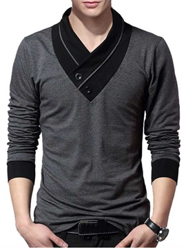 Mens V Neck Patchwork Long Sleeve Sweater