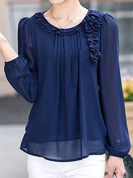 Stylish Pleated Decoration Chiffon Blouse