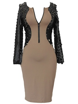 New Contrast Color Sleeves Front Zipper Bodycon Dress