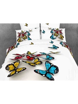Beautiful 3d Butterfly Print White Color Cotton Bedding Sets