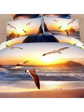 Sea Gull And Sunset Printed 4 Piece Bedding Sets