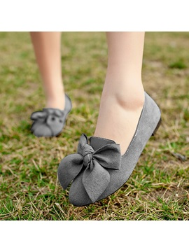 Bowtie Suede Womens Flats