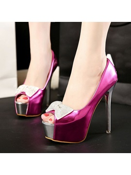 Bowtie Peep Toe Stiletto Heel Prom Shoes
