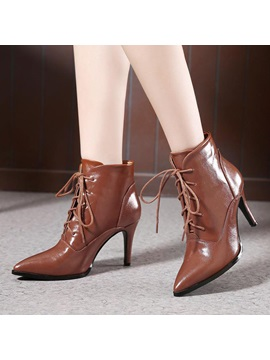 Pointed Toe Lace Up Womens Booties