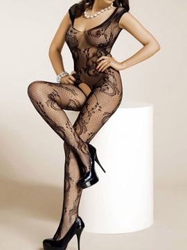 Black Lace See Through Body Stocking For Women