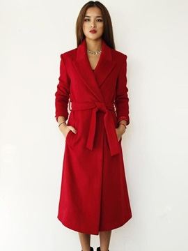 Winter Long Sleeve Lapel Womens Long Wrap Trench Coat