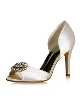 Peep Toe Cut Out Satin Wedding Shoes