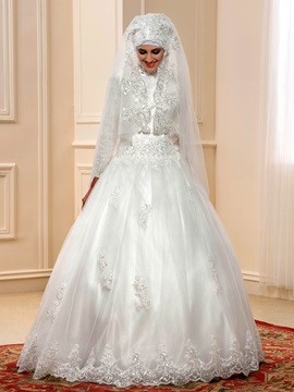 Modest Beaded Lace High Neck Islam Muslim Wedding Dress With Sleeves
