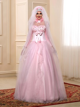 Modest Beaded Bowknot Pink Tulle Muslim Wedding Dress With Sleeves