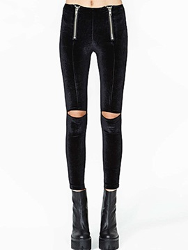 Delicate Double Zipper Hollow Designed Womens Leggings