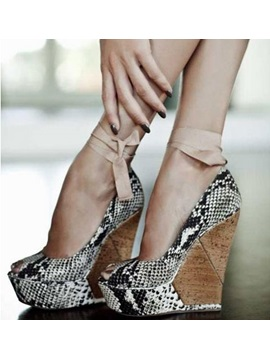 Snakeskin Peep Toe Womens Wedges