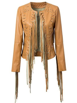 Stylish Rivet Tassel Short Jacket