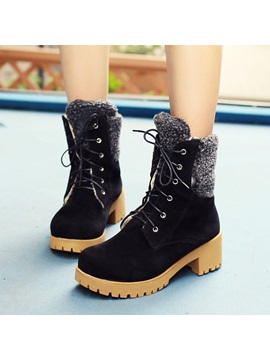 Suede Chunky Heel Round Toe Lace Up Martin Boots