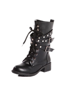 Rivets Lace Up Women's Moto Boots