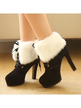 Faux Fur Platform Lace Up Ankle Booties