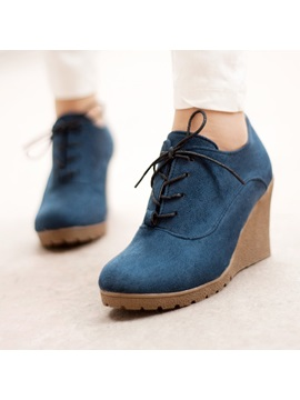 Suede Lace Up Womens Wedge Boots