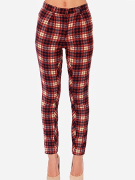 Cotton Plaid Printing Pencil Pant