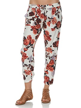 Vogue Floral Printing Lace Up Pant