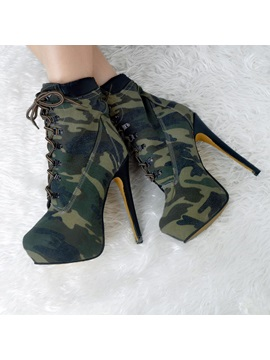 Camouflage Color Lace Up Platform Booties