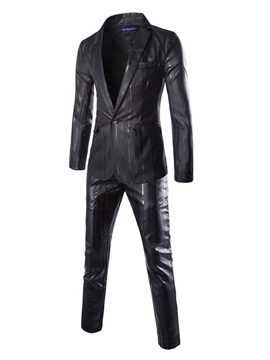 Mens One Button Faux Leather Two Pieces Suit