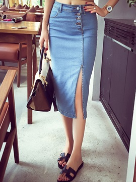 Plain Denim Slim Side Slit Skirt