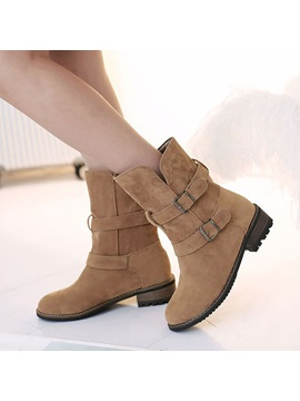 Suede Buckles Round Toe Moto Boots