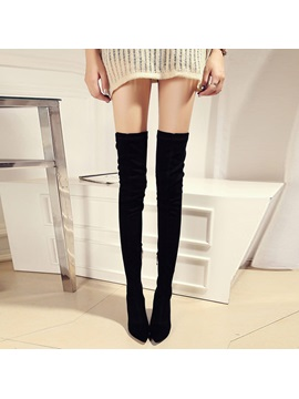 Black Pointed Toe Thigh High Boots