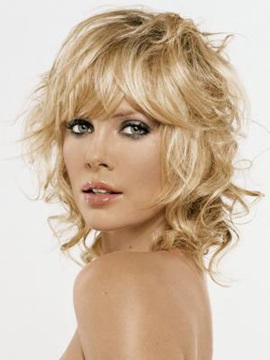 Attractive Fashionable Medium Curly Wig 100 Human Hair Capless 12 Inches