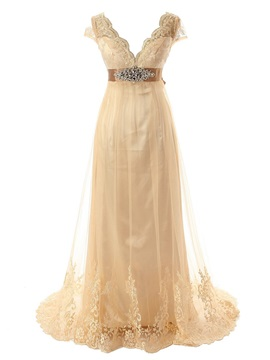 V Neck Beaded Empire Waist Appliques Wedding Dress With Cap Sleeves