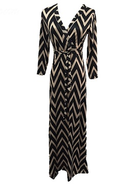 Chic Stripe Sleeve Belt Maxi Dress