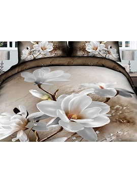 Quiet Elegance White Flowers Print Bedding Sets