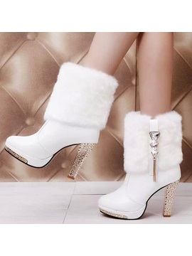 Crystal Faux Fur Slip On Booties