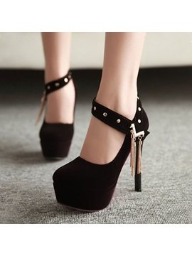 Metal Chain Stiletto Heel Platform Pumps