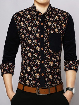 Floral Pattern Mosaic Color Slim Long Sleeve Mens Casual Shirt