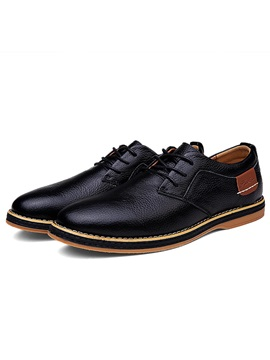 Round Toe Pu Patchwork Lace Up Mens Shoes