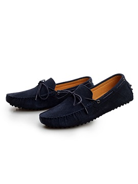 Solid Color Suede Slip On Mens Loafers
