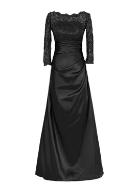 Bateau Neckline Long Sleeve Lace Satin Floor Length Mother Of The Bride Dress