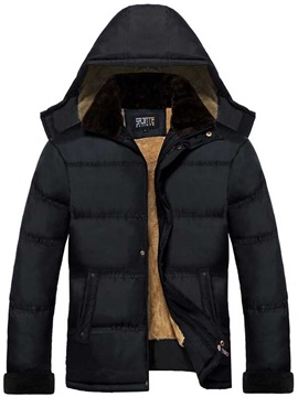 Mens Warm Hooded Flocking Cotton Coat