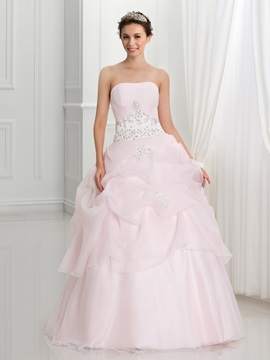 Strapless Pick Ups Appliques Sequins Ball Gown Quinceanera Dress