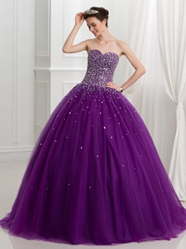 Ball Gown Sweetheart Beading Lace Up Tulle Quinceanera Dress