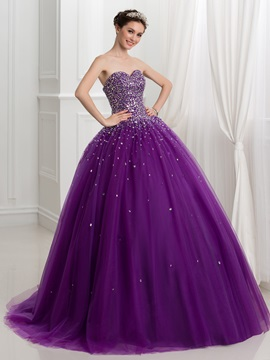 Ball Gown Sweetheart Beading Lace Up Quinceanera Dress